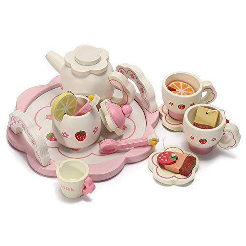 DorisAA Juego de té café Set de madera para niños simulación de té juguetes de fingir tazas de cocina set tetera bandeja tazón regalos