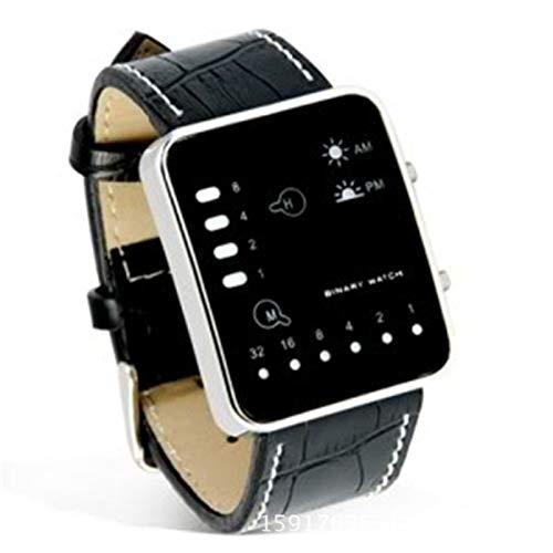 Prachtige Nieuwe Horloge Mode Digitale Rode LED Sport Polshorloge Binaire Polshorloge PU Lederen Vrouwen Mannen Klok Relogio Feminino