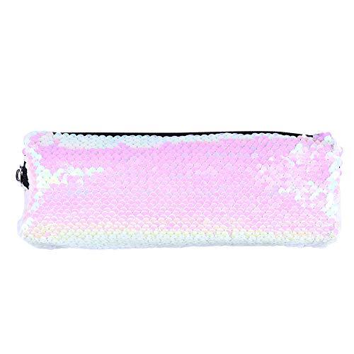 Puran Trousse de maquillage portable à sequins brillants Grande capacité Organiseur de produits cosmétiques avec fermeture éclair rose/blanc