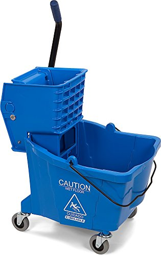 Carlisle 3690414 Commercial Mop Bucket with Side Press Wringer, 35 Quart Capacity, Blue