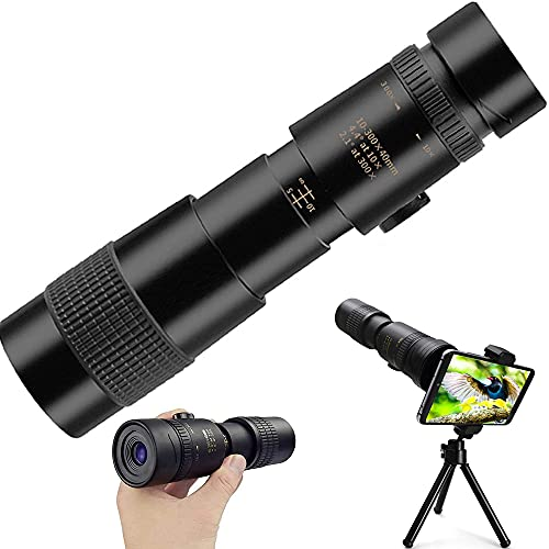 Telescopio Monocular, 10-300X 40mm Super Teleobjetivo Zoom Monoculo Telescopio, HD Impermeable FMC BAK4 Portatil Telescopio Monocular con Adaptador de Soporte para Phone y trípode