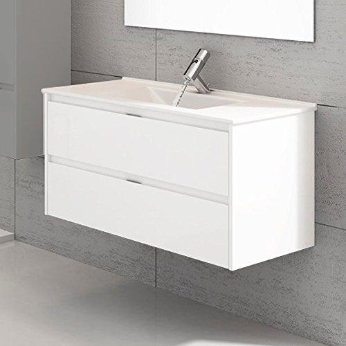 DUCHA.ES Mueble DE BAÑO SUSPENDIDO con Lavabo Espejo TOALLERO MIZAR 100CM (Blanco Brillo)