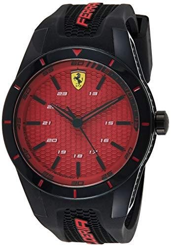 Orologio da uomo analogico al quarzo cinturino in silicone nero e rosso,...