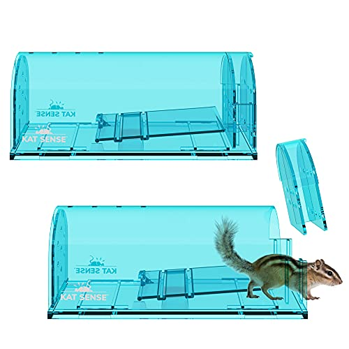 Large Humane Rat Traps, Set of 2, Catch and Release Chipmunks Into The Wild, Cruelty Free, Live Capture Plank Trap, Smart No Kill Rodent House Cage, A Friendly Pest Control Solution