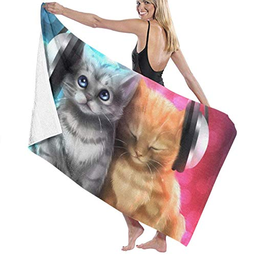 WKLNM baddoek: Kitten Luisteren naar muziek Blauw Rood Wasdoekjes 100% Polyester Yoga Handdoek Zeer Absorberende Sauna Handdoek Snelle Droge Badlakens voor Home Hotel Spa - 32x51 inch