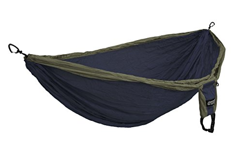 ENO, Eagles Nest Outfitters Double Deluxe Lightweight Camping Hammock, 1 to 2 Person, Navy/Olive