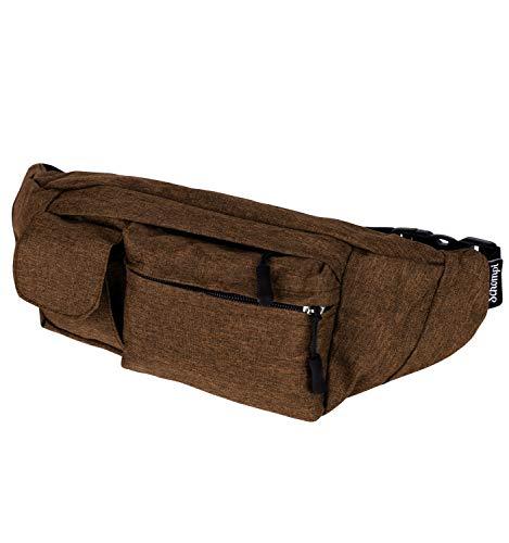 Schompi Hüfttasche Unisex Bauchtasche mit 4 Taschen Wasserabweisend Damen Herren Farbauswahl, Farbe:Braun