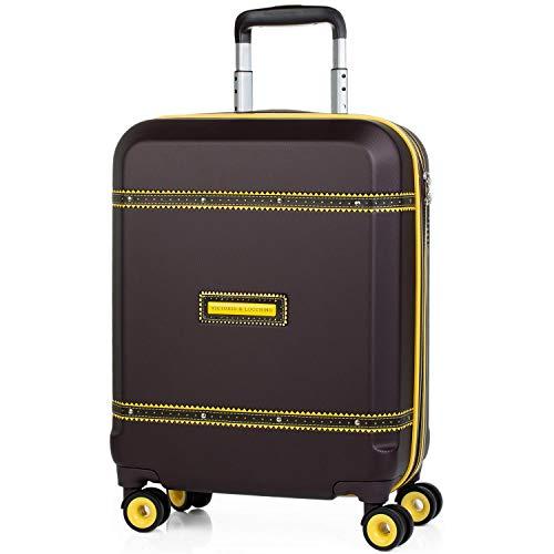 VICTORIO & LUCCHINO - 56050 55x40x20 Maleta trolley 50 cm cabina ABS. Equipaje de mano. Mango telescópico, Asas y 4 ruedas. Vuelos low cost Ryanair Vueling. Candado TSA., Color Marron