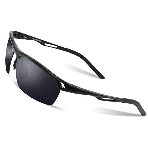 DUCO Herren Sport Stil Polarisierte Sonnenbrille Metallrahmen Brille 8550 (Schwarz/Grau)