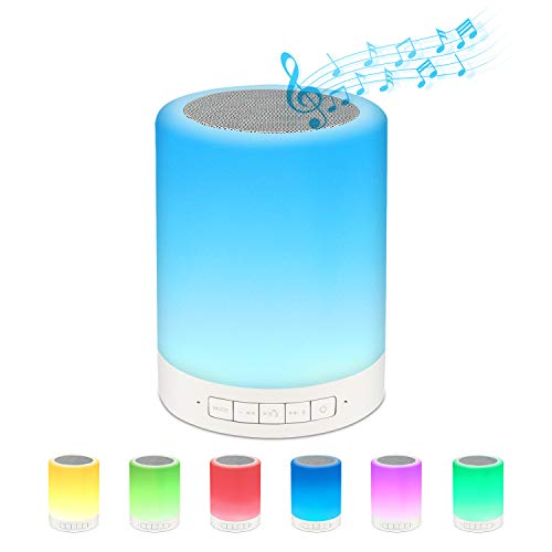 Warming Mom/Graduation/Teacher/Birthday Gifts for Women,Men,Kids,Teenage Girls,Smart Touch Variable Color Night Light,Portable Wireless Bluetooth Speaker,Speakerphone/Micro-SD Supported