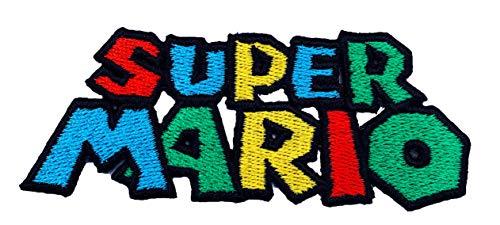 Super Mario Logo Patch Embroidered Iron on Badge Aufnäher Kostüm Mario Kart/SNES/Mario World/Super Mario Brothers/Mario Allstars Cosplay