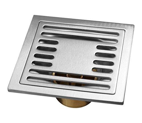 Edelstahl 10x10cm Duschablauf massive Qualität Bodenablauf Geruchsverschluß (Ausführung: Chrom)