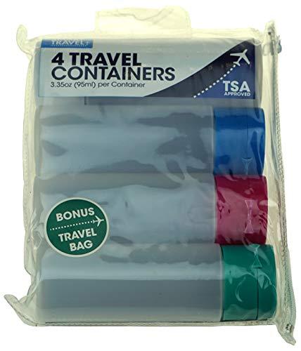 Smart Travel – 4 conteneurs de Voyage + Sac de Voyage – 95 ML par conteneur – Approuvé par la TSA