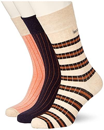 Scotch und Soda Herren Gerippte Baumwollmischung Socken, Combo A 0217, L