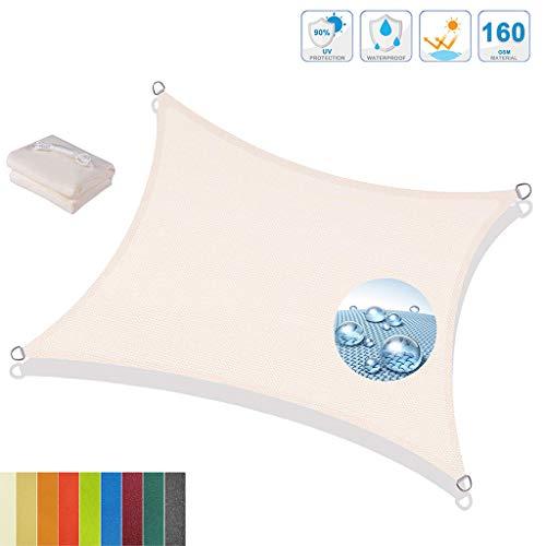 Toldo Vela de Sombra Rectangular, Protección UV Resistente al Agua Toldos y Velas HDPE, para Patio, Exteriores, Jardín - Blanco lechoso 2x3m