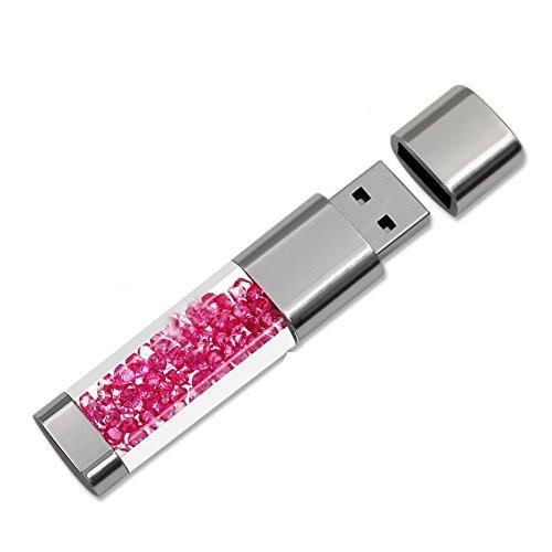 AreTop Cristal Clé USB 2.0 Flash Drive Mémoire Stick Très Bon Cadeau (16GO, Rose Rouge)