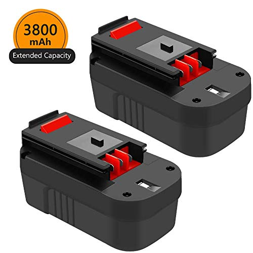 18 Volt 3.8Ah HPB18 Replacement Battery for Black and Decker 18V Ni-Mh, Compatible with B&D 18 Volt HPB18-OPE 244760-00 A1718 FS180BX FS18BX FS18FL FSB18 Firestorm Batteries 2 Packs
