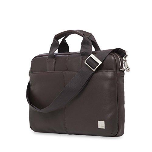 Knomo 154-258-BRN Brompton Stanford, stilvolle Herren-Aktentasche aus weichem Leder mit gepolstertem Laptopfach für 13 Zoll Notebooks und RFID-Schutz | Braun