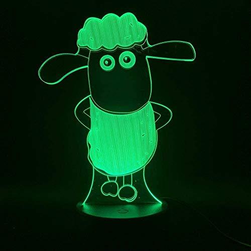 BTEVX Lámpara de ilusión 3D Luz de noche LED Ovejas dibujos animados para niños Dormitorio Sensor para regalo de bebé Lámpara de escritorio con pilas Los mejores regalos de cumpleaños para niños
