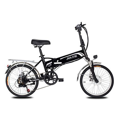BMXzz Klappbares E-Bike, 20 Zoll Elektrofahrrad 48V 10,5 Ah Lithium-Ionen Akku 350W Heckmotor 7 Gang Schaltung Alu-Rahmen E-Citybike,Schwarz