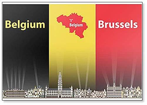 Kühlschrankmagnet, Motiv Skyline von Brüsseler Stadt mit Flagge & Karte von Belgien, klassisch