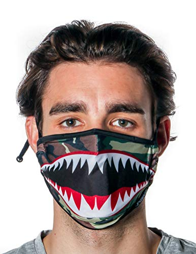 Fydelity-Breathable Face Mask Comfortable Fabric Cover Reuse:Tiger Shark Camo