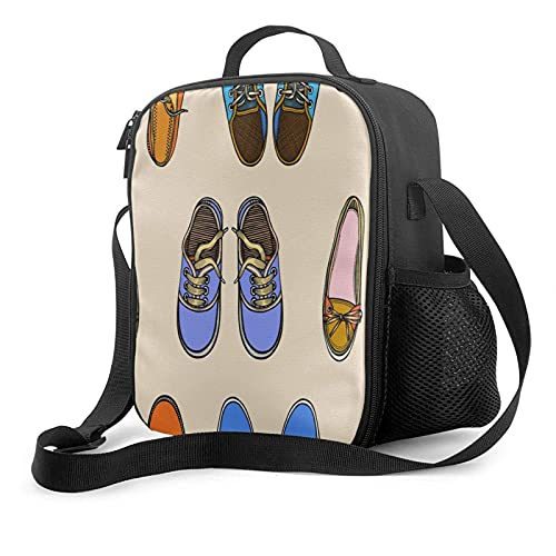 Bolsa de almuerzo con aislamiento reutilizable, zapatos lindos de dibujos animados, color caqui, resistente, con cremallera, enfriador, caja de asas, preparación de comidas, resistente al agua, enfri
