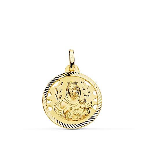 18mm Anhänger 18k Goldmedaille. Jungfrau des Carmen Zaun geschnitzt unisex - Anpassbare - AUFNAHME IN PREIS ENTHALTEN