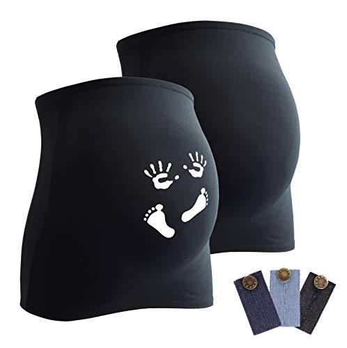 Mamaband Lot de 2 bandeaux de grossesse pour femme enceinte 1 x uni 1 x imprimé - Chauffe-dos et extension de t-shirts pour femmes enceintes - Vêtements de maternité élastiques - Noir - Medium