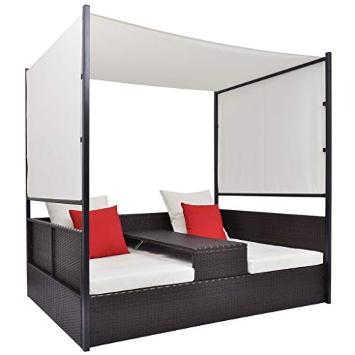 UnfadeMemory Doppel-Liegebett mit Sonnendach Poly Rattan Doppel-Sonnenliege Gartenliege Terrasse Garten Loungliege für 2-Personen 190 x 130 x 180 cm (Braun)