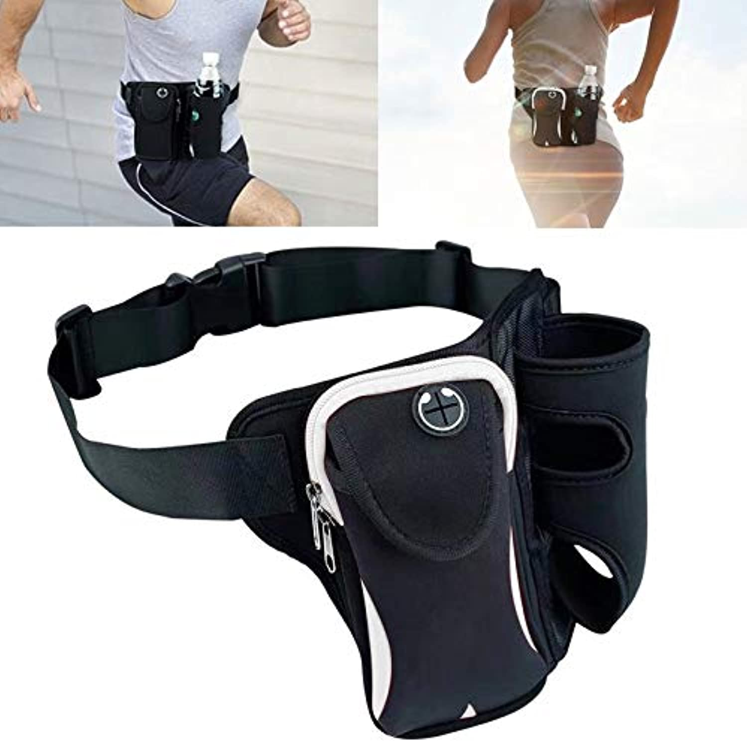 Vacation Simple MultiFunctional Unisex Running Outdoor Sports Water Bottle Waist Bag Convenient (color   Grey)