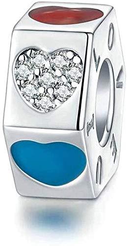 GLYIG Charms de Mujer Three Color Love Beads 925 Colgante de Plata esterlina, Concesiones de la Moda Joyería de Navidad Beads de Regalo