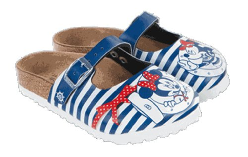 Birki's Unisex Kinder Flache Hausschuhe, Mickey Minnie AHOI Stripes Blu, 35 EU