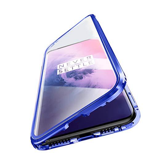 Capa magnética Vsmano Oneplus 6T, capa magnética de metal de adsorção magnética, capa traseira de vidro temperado dupla face 9H para Oneplus 6T (azul)
