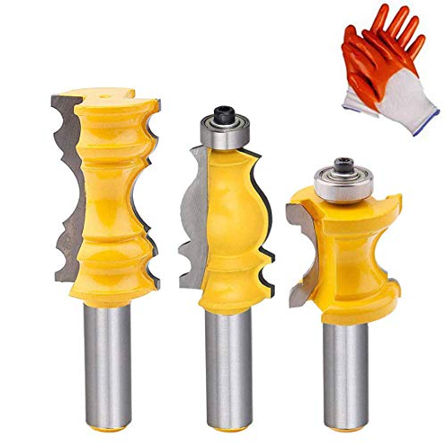 1/2 Inch Shank Architectural Molding Router Bit Set Crown Molding Router Bit Bullnose Bead Column Face Molding Router Bit for Woodworking Tools