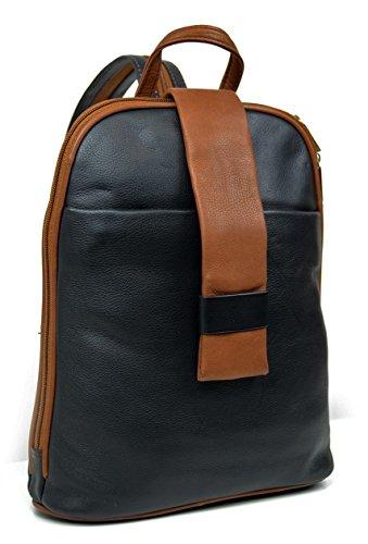 DEVRAKH Dames echt lederen rugzak City Pack Daypack handtas echt leer nappa Citybackpack, zwart - cognac (zwart) -