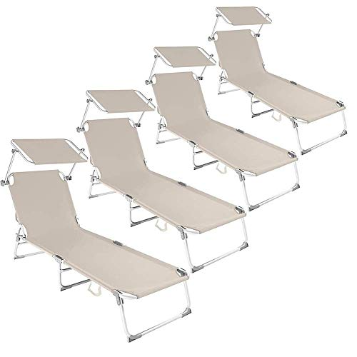 Comfortabele Ligstoel Met Verstelbaar Zonnescherm 188 X 58 X 24 Cm Verstelbare Stoel Draagbare 120 Kg Belasting Opvouwbare Zonnebank Voor Binnen Buiten Strand Tuin Vrije Tijd Set Van 4 Vlees