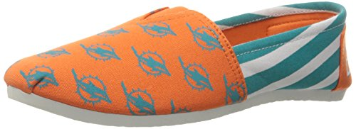 NFL Miami Dolphins Women's Canvas Stripe Shoes, Small (5-6), Green