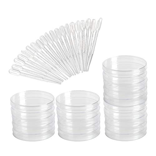 yalansmaiP 20 Pack Sterile Plastic Petri Dishes with Lid and 20 Plastic Transfer Pipettes (10Pcs3ml,10Pcs2ml), 90mm x 15mm, Perfect Kit for Medical, Biological, and Other Scientific Research