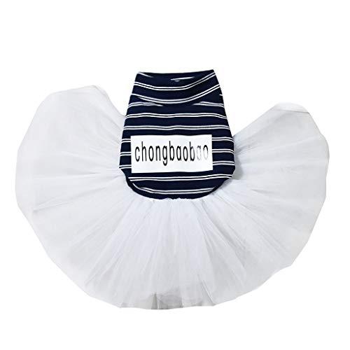YWLINK Mode Haustier KostüMe Sommer Elegant Retro Streifen Mesh Patchwork Atmungsaktiv Einfach Party Hochzeit Kleid(Blau,XXL)