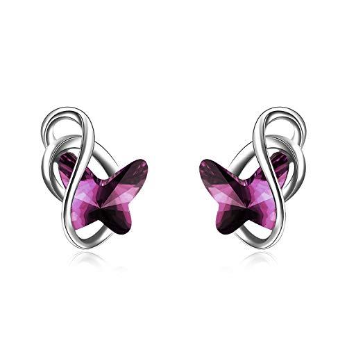 Schmetterling Ohrstecker Sterling Silber Ohrringe Damen mit Blauen Swarovski-Kristallen, Schmuck Geschenke für Frauen Mädchen (amethyst)