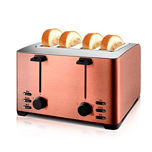 Stainless Steel Toaster, 4 Slice Automatic Bake Defrost Reheat Cancel Function Extra Wide Slot Toaster Oven for Breakfast Kitchen Bread Sandwich,Brass
