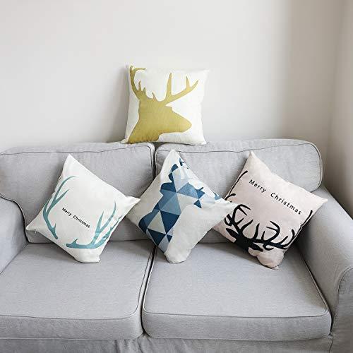 CHIMAERA Kissenbezüge, Set mit 4 Kissenbezügen, 18 x 18 Leinen Kissenbezüge Home Sofa Dekorative Kissenhülle für Weihnachten (B)