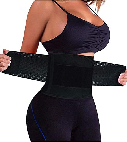 YIANNA Women Waist Trainer Belt - Slimming Sauna Waist Trimmer Belly Band Sweat Sports Girdle Belt Weight Loss, YA8002-2-Black-M