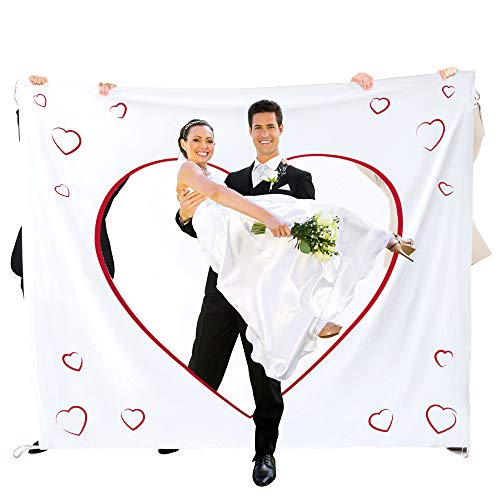 Casa Vivente Hochzeitslaken zum Ausschneiden mit Wortherz Ausdruck, Set mit Bettlaken und Zwei Scheren, Hochzeitsspiele für das Brautpaar