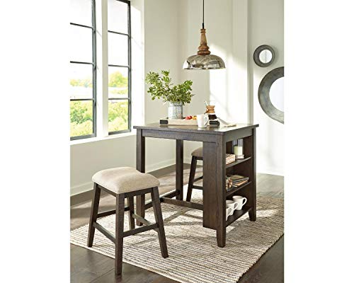 Signature Design by Ashley Rokane Counter Height Dining Set, Includes Table & 2 Stools, Light Brown