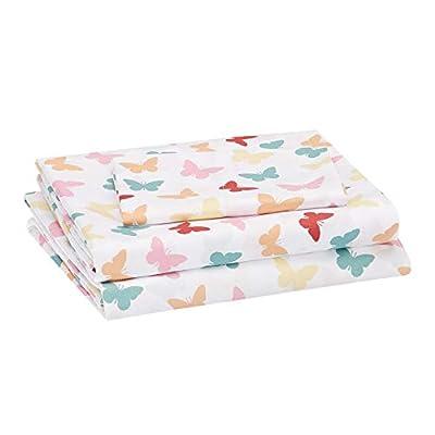 Amazon Basics Kids Butterfly Friends Soft, Easy-Wash Microfiber Sheet Set - Twin, Multi-Color Butterflies