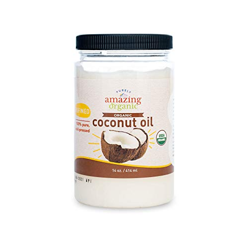 Purely Amazing Organics - Certified Organic Refined Coconut Oil (14 Ounce) Non-GMO Cold Pressed, Great for Skin, Hair and Cooking