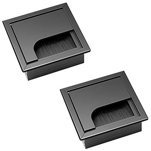 Pasacables de Escritorio Rectangular Cubierta de Agujero de Mesa 2 Piezas de Aleación de Aluminio de 80 mm * 80 mm con Junta de Cepillo Para muebles de oficina, mesa, escritorio de la computadora.