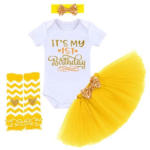 FYMNSI - Vestitino da neonata 6 mesi, 1 anno e 2 anni, vestitino principessa in cotone, a maniche corte,...